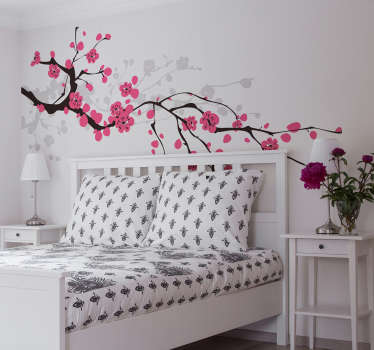 Beautiful sakura wall sticker to decorate your bedroom or living room. This flower wall sticker shows a pink tree branch, perfect for adding some colour and nature to any room in your home.