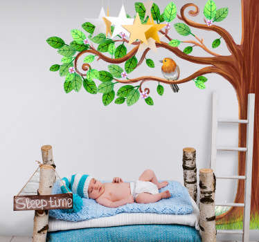 Decorative tree with birds wall art sticker to decorate the bedroom of children. It is easy to apply and self adhesive..