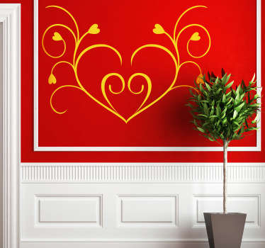 Symmetrical Floral Heart Wall Sticker