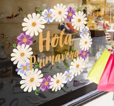 """Vinilos florales para celebrar la llegada de tu estación favorita, con el dibujo de una corona de flores blancas y el texto """"Hola primavera""""."""