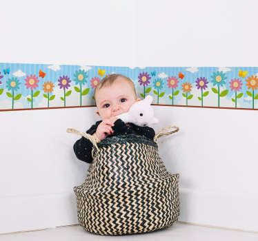 Naklejka na ścianę szlaczki - kwiatowy wzór dla dzieci