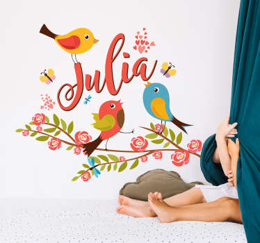 Spring illustration sticker with colorful birds for home decoration. It is customisable in any name of choice. Easy to apply and self adhesive.