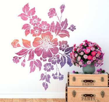 Floral wall art decal design of a blooming spring flower. We have it in any required size and it application is easy because of it high quality vinyl.
