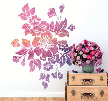 Wandtattoo Wohnzimmer Blumen Violetttöne