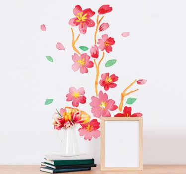 Naklejka na ścianę gałązka japońskiego kwiatu wiśni