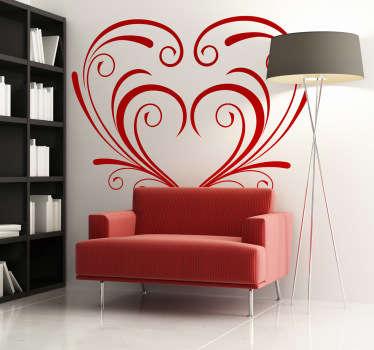 Symmetrical Ornamental Floral Heart Wall Sticker