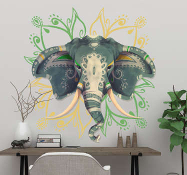Naklejka orientalny słoń i kwiat mandali