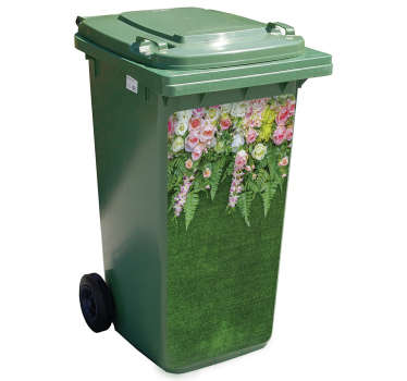 A decorative flower decal for trash containers. It is easy to apply because of it self adhesive quality and available in any size required.