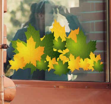 желтая и зеленая наклейка с листьями autum