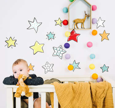 Space theme wall sticker for kids with the design of amazing pretty colorful stars. Buy it in any size required and it application is easy.
