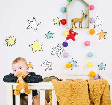 Naklejka na ścianę dla dzieci rysunkowe gwiazdki
