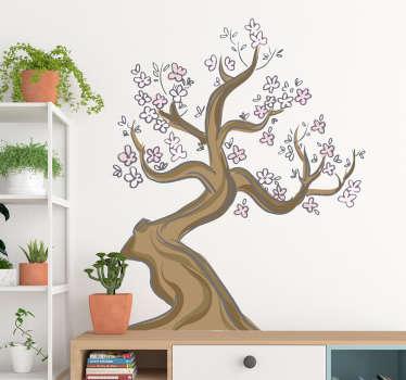 Das design dieses aufklebers besteht aus einem kirschblütenbaum im animierten stil. Das design ist in ruhigen und schönen braun- und rosatönen gehalten.