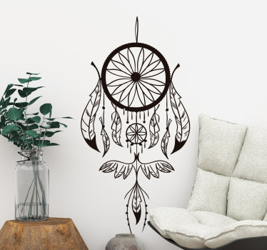 Decorative home wall sticker with an aesthetic ornamental design of an Indian dream catcher. Available in different colours and size options.