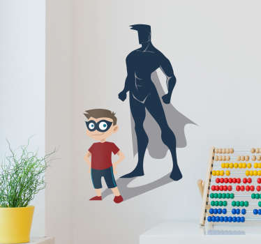 Decorate the your kids bedroom with this magnificent kids wall sticker of the figure of a boy with the shadow in the shape of a superhero.