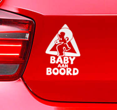Baby on board car sticker to decorate a vehicle with notice to other road users that you have a child passenger in a car. It is easy to apply.