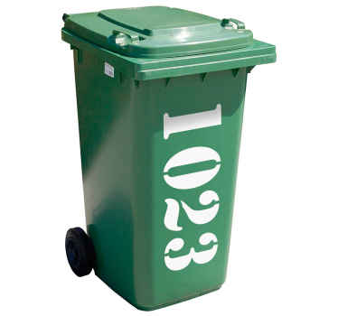 Maßgeschneideter Mülltonnenaufkleber Hausnummer