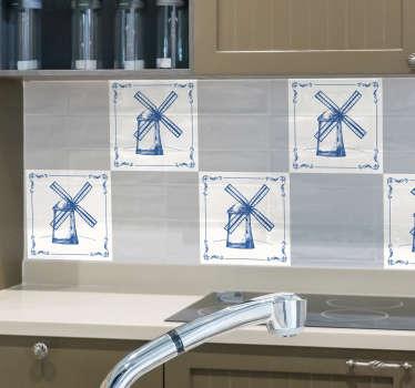 Autocollant de carreaux de moulin néerlandais pour décorer l'espace mural de la cuisine. Facile à appliquer et imperméable. Choisissez-le dans n'importe quel pacte et taille requis.