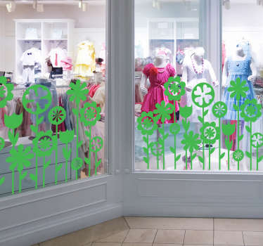 Decorative window vinyl decal with an amazing prints of spring flowers for a a shop front. It is available in any size required.