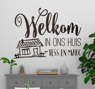 Customize your own welcome message text in our self adhesive home wall text sticker. It is available in any size required and easy to apply.