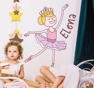 Sticker cameretta ballerina nome personalizzato