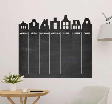 Weekplannerkrijtbord sticker huisjes