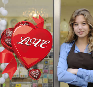 An open heart shaped chocolate box filled with treats! Brilliant heart wall art decal to decorate your shop front window during Valentine's Day!