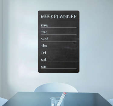 A wall sticker you can write designed in form of a blackboard . Useful to organize all your weekly activities and goals. It is available in any size.