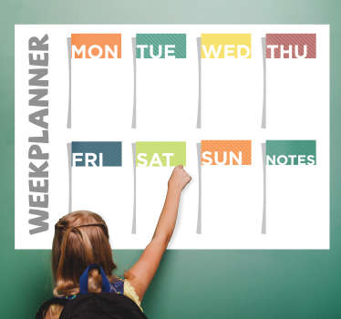 Buy our decorative weekly plan wall sticker you can write on and can be cleaned at any time. It is available in any size. Easy to apply.