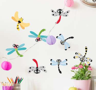 Fantastic set of insect wall stickers with many dragonflies in different colors that is perfect for your kid's room decor.