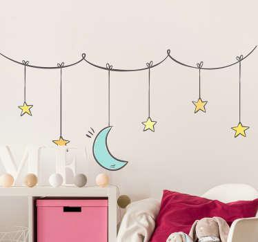 Naklejka na ścianę gwiazdki i księżyc zawieszone na sznurku