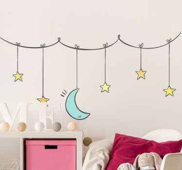 Vinil decorativo infantil de estrelas e lua
