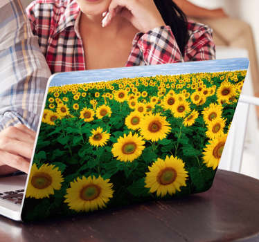 If you love sunflowers, then his self-adhesive vinyl for PC with images of an endless field of sunflowers is perfect for you.