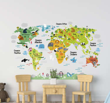 Decorate the kids room with this colorful wall sticker world map with names and animals.