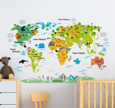 Naklejka winylowa z kolorową mapa świata dla dzieci na której znadują się ciekawe ilustracje ze zwierzętami które żyją na różnych kontynentach.