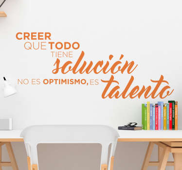 Quotes about talent motivational wall sticker. It is available in different colours and size options. Easy to apply and self adhesive.