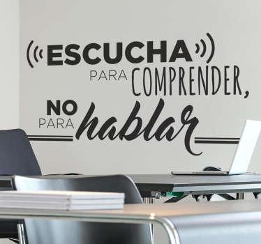 мотивационный текстовый стикер на стену для украшения любого пространства по выбору. в этом текстовом контексте говорят «слушай и понимай». у нас это в разных цветовых вариантах.