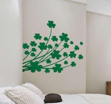 ウォールステッカー-クローバーの花柄のデザインで、部屋を飾るのに最適です。さまざまなサイズと色で利用できます。