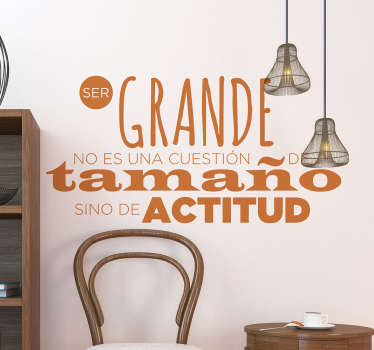 An adhesive home text wall sticker with text phrase about attitude. It is available in different colours and size options.