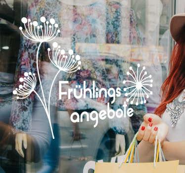 春季销售交易窗口贴纸,以促进业务空间的销售。它有不同的颜色和尺寸。