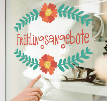 Decorative window sticker for spring sales offer. It is easy to apply and available in any desired size. Self adhesive design.