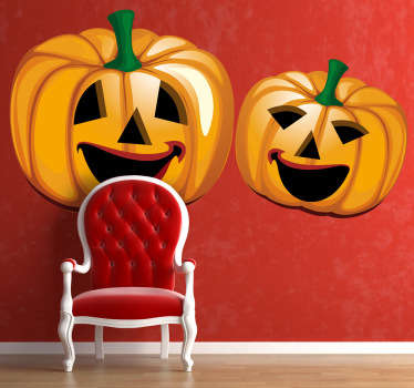 A sticker illustrating two scary halloween pumpkins. Fantastic decal to decorate your home during halloween.