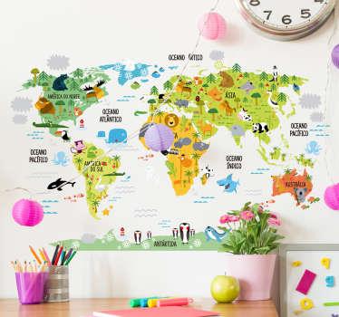Adesivo infantil mapa mundo