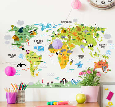 Wandtattoo für Kinderzimmer mit der Silhouette einer Weltkarte und darauf die Zeichnung der heimischen Tierwelt. Perfekt fürs Kinderzimmer.