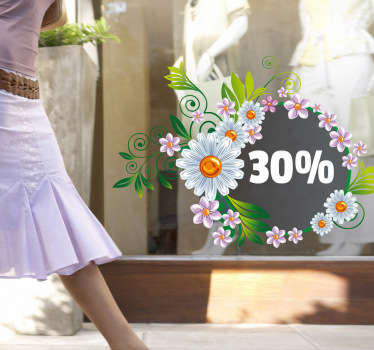 Sales stickers- Our shop window stickers have free delivery with orders over £45. This floral shop window decal is great for attracting customers with sales promotions.