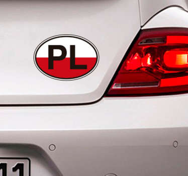 Poland flag car sticker with the print PL text on it. It is easy to apply, self adhesive and available in any required size.