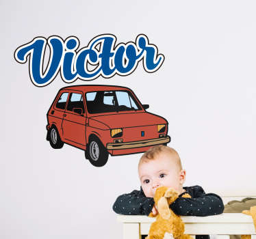 An illustrative car wall sticker for children bedroom space with the design of a car and it is customisable with any name of choice.