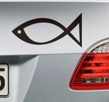 Religious fish car sticker to decorate any vehicle and flat surface of choice. It is customisable in any one of the available 50 colours options.