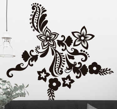 Decore as paredes dos teus quartos com este vinil decorativo com intuito de renovar as paredes do seu quarto com esta ilustração de flores e espiral.