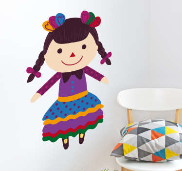 Pegatinas de la popular muñeca María mexicana, práctica artesanal convertida en tradición que se realiza desde hace siglos.