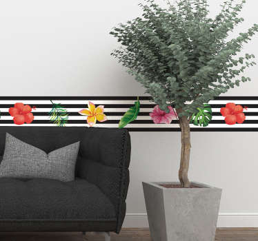 Naklejka na ścianę czarno-białe paski z kwiatkami i liśćmi